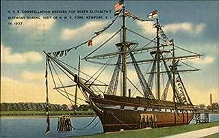 USS Constellation dressed for Queen Elizabeth's Birthday during visit of HMS York Original Vintage Postcard