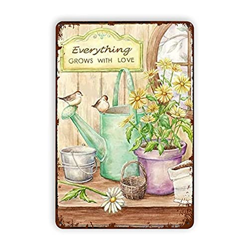 Pintura de hojalata Lavender Flower Everything Grows with Love Tin Signs Vintage Metal Tin Sign Wall Decor Art Plaque Signs Funny Posters for Home Room Cave Bar Club Cafe Kitchen Bathroom 8x12 Inch