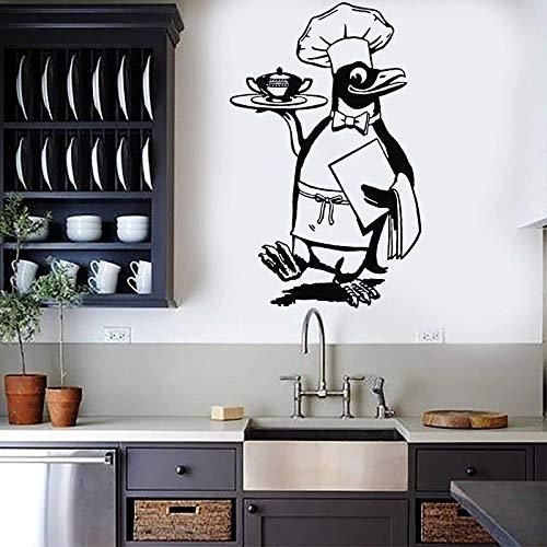 WERWN Adesivi murali Pinguino Chef Decalcomanie Chef Decorazione murale Cucina Decalcomanie Ristorante Cibo Decorazione Sala da Pranzo Divertente