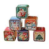 Amosfun - Caja para Galletas navideñas (Cristal), diseño de Dulces, Color Blanco