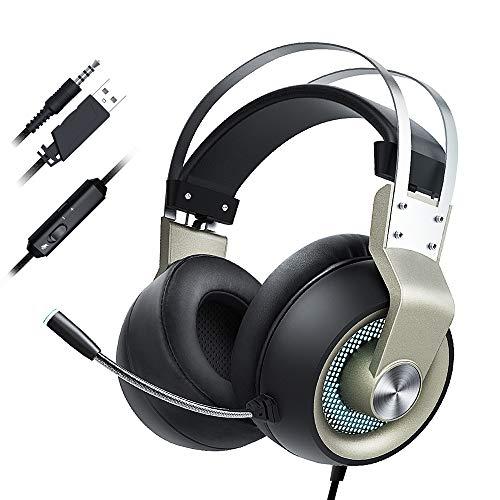 Bumpy Road Kabelgebundenes Kopfhörer-Gaming-Headset 3,5-mm-USB-Kopfhörer mit Mikrofon-Online-Lautstärkeregler für Computer-PC-Spieler
