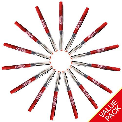 Fullmark Penne ROLLER a Inchiostro, 0.7mm, Rosso, confezione da 15 pezzi