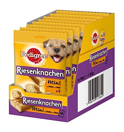 PEDIGREE Riesenknochen Mini – Hundeleckerli mit Huhn und Reis – Ideal als Belohnung für kleine Hunde – 8 x 180g im Multipack mit je 4 Knochen