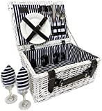 Picnic Basket for 2 Person Picnic Hamper Set Ceramic Plates Metal Flatware Wine Glasses S/P Shakers Bottle Opener Picnic Set | Picnic Tote