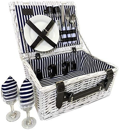 Picnic Basket for 2 Person Picnic Hamper Set Ceramic Plates Metal Flatware Wine Glasses S/P Shakers Bottle Opener Picnic Set | Picnic Tote