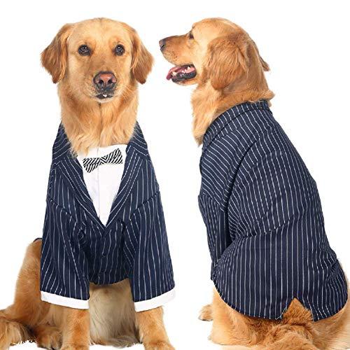 Petvins Hunde-Anzug für mittelgroße und große Hunde, Prinz-Streifen, Smoking mit Fliege, Krawatte, Haustier Hochzeitshemd, Partykleidung, 6XL(Neck: 20