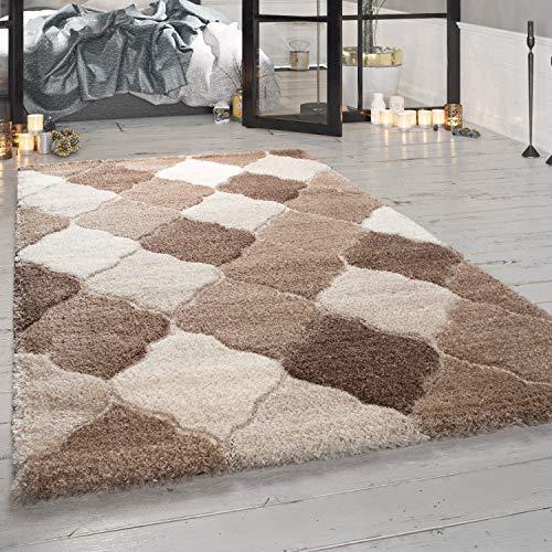 con Look Orientale in Beige Paco Home Tappeto Shaggy di Design a Pelo Lungo per Soggiorno Dimensione:60x100 cm