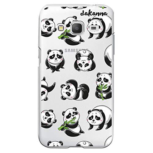 dakanna Custodia Compatibili con [Samsung Galaxy Core Prime] Sfondo Trasparente con Disegni [Panda] in Morbida Silicone TPU Flessibile, Shell Case Cover in Gel per Smartphone