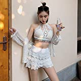 PJPPJH Beach Swimming, Women's Lingerie Sets Erotic Clothing New White Knitted Hollow Bikini Conservative Covering Belly Thin Sleeve Blouse