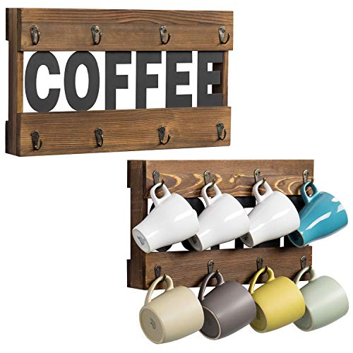 MyGift 8Hook Rustic Dark Brown Burnt Wood Wall Mounted Coffee Mug Holder Rack with Black Metal Coffee Cutout Letters Set of 2