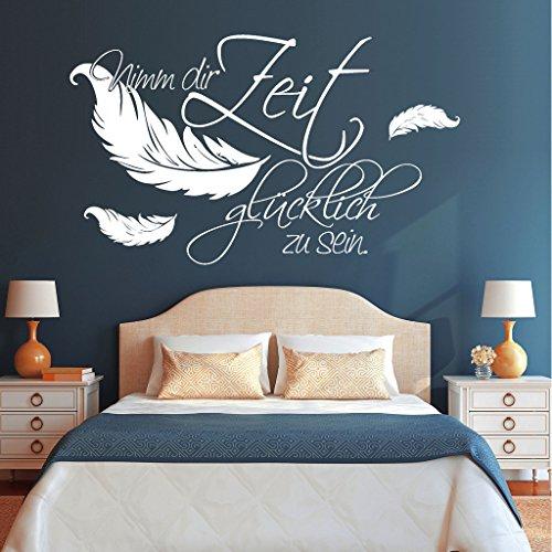 Wandtattoo-Loft Schriftzug Nimm dir Zeit glücklich zu Sein. mit Federn / 54 Farben / 3 Größen/schwarz / 35 cm hoch x 59 cm breit