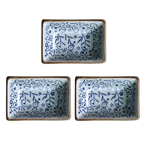 Angoily 3 Unidades de Porcelana Japonesa Retro Cuenco de Condimentos Platos de Salsa de Soja Platos de Aperitivo Platos de Postre