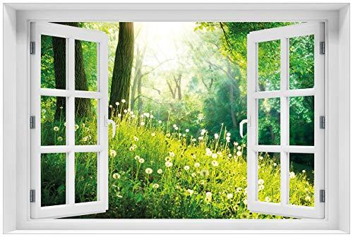 Wallario selbstklebendes Poster mit Fenster-Illusion: Pusteblumen im Wald mit einfallenden Sonnenstrahlen in Premiumqualität, Größe: 61 x 91,5 cm (Maxiposter)