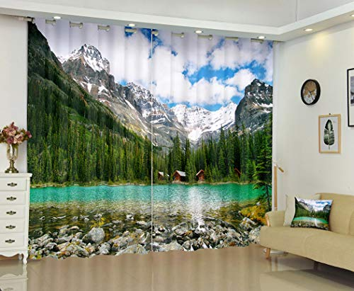 National Velvet Curtains,Lake Ohara Yoho National Park Canada,Soundproof Blackout Curtains for Bedroom Living Room Window Drapes 2 Panel Set,108X80 Inches