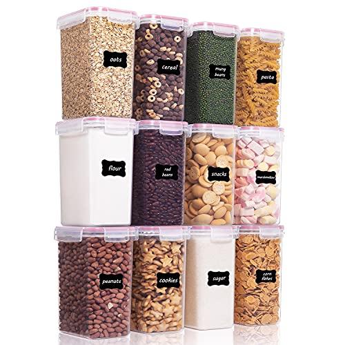 Vtopmart 2L Vorratsdosen Set, Müsli Schüttdose & Frischhaltedosen, BPA frei Kunststoff Vorratsdosen luftdicht,Trockenfutterbehälter, Satz mit 12, 24 Etiketten für Getreide, Mehl, Zucker usw (Rosa)