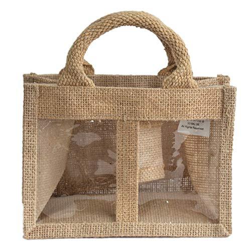 HoitoDeals Jute-Geschenktasche mit Fenster für Zuhause, für Marmeladen, Chutneys, Gurken und Konserven.