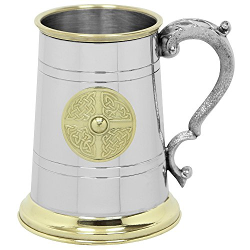 English Pewter Company1 boccale di birra con distintivo in ottone celtico [EP168]