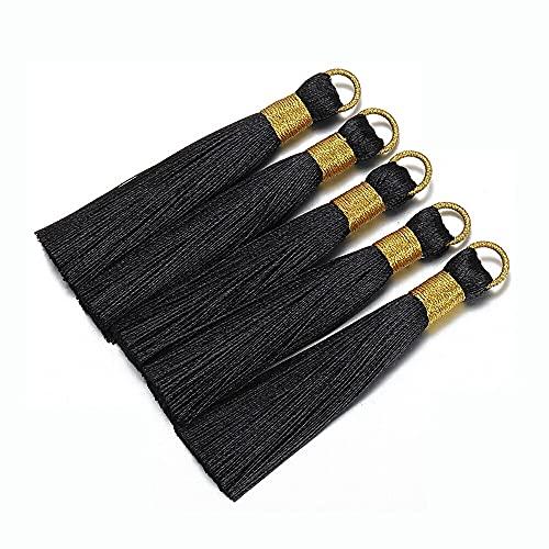 QA - Pendientes de borla de seda de 8 cm con varios colores, 10 unidades, accesorios para hacer joyas DIY Y906 (color: negro)