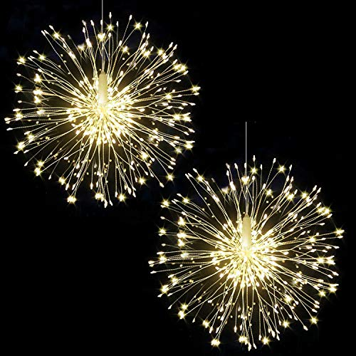 Bcga 2 packs Firework Lights Copper Wire LED Lights, 8 Modes Dimmable String Fairy Lights with Remote Control, Waterproof Hanging Starburst Lights for Parties,Home,Christmas Outdoor Decoration