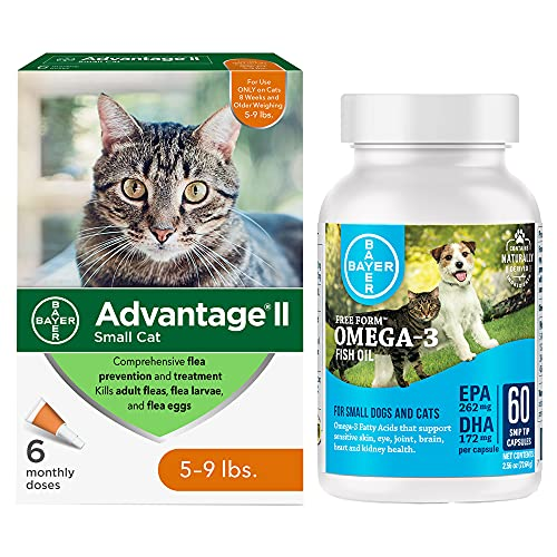 Advantage II Flea Prevention for Small Cats 5-9 lbs  6‑Pack  Plus Free Form Snip Tips Omega-3 Fish Oil Supplement for Small Dogs and Cats  60-Count