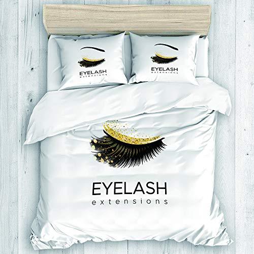 JOSENI Bedding Juego de Funda de Edredón,Lash Eyelash Extension Makeup en Modern Eye Beauty Eyebrow Cosmetic,Microfibra SIN Relleno,(Cama 240x260 + Almohada)