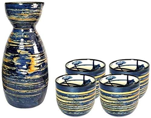 HGDD Juego de Tazas de Sake Japones Juego de Sake Pintado a Mano Tradicional japonés, Conjunto de vinos Azules cepillados, cerámica de Porcelana Copas de cerámica de cerámica Copas de Vino, 5 Piezas