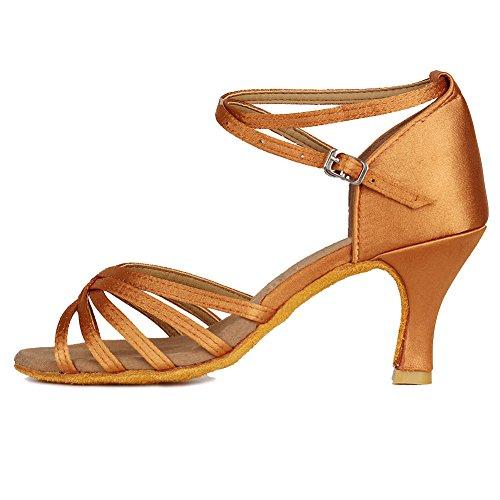 HROYL Zapatos de Baile Latino Mujer Salsa Tango Bachata Vals Zapatos de Baile de Salon,213-Marrón-7,EU 38
