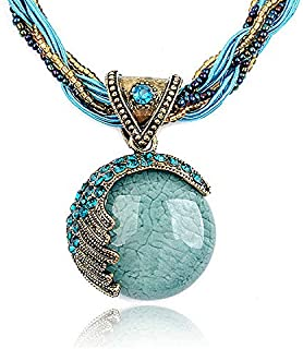 Qings Vintage Chunky Punk Tribal Necklace Statement Bib Plated Alloy Boho Choker Necklace Bohemian Jewelry