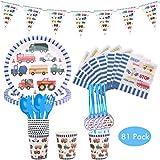 Amycute 81 pcs Set de vajilla de Fiesta de cumpleaños Infantil, Juego de Cubiertos Desechables niños para 10 niños con Vaso, Plato, servilleta Fiesta de cumpleaños Baby Showers