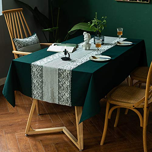 PhantasyIsland.com Round Spillproof Checkered Table Diameter Black Striped Tablecloth in Washable Polyester - Stain Resistant Wrinkle Free Tablecloth for Dinner Party Restaurant140*220cm