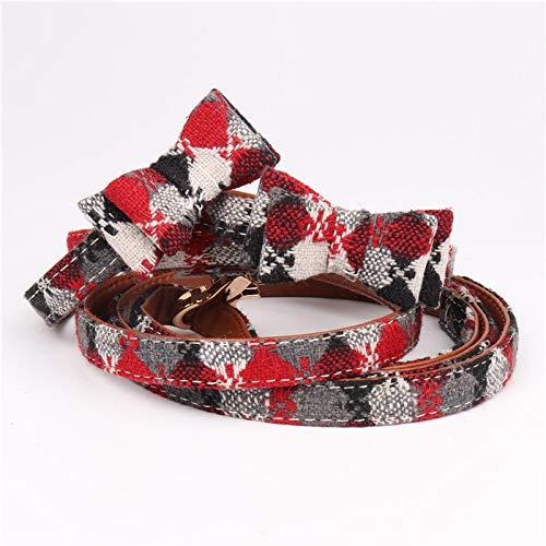 Hondenhalsband, Red British Lattice Bow Tie Bow Tie Hondenriem Set Gentleman zachte veilige hond halsband voor alle seizoenen ademende gewatteerde gezellige lichte outdoor wandelen opkleedje, 1.5*47CM