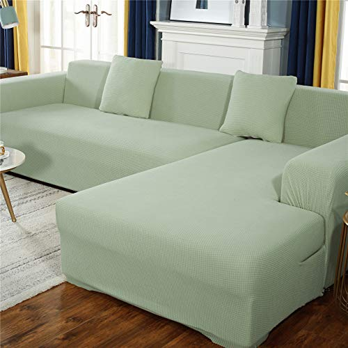 Cubierta de sofá de terciopelo de maíz grueso 1/2/3/4/5 Seaver, Sofa Stretch Sofa SlegCOVERS Tela Elástica Sofá Sofá Protector con antideslizante,Verde,2seater