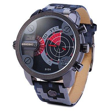 Sports Watches Herrenuhren Männerdoppelbewegung Radar Uhren militärische Tarnung Lederarmbanduhr Damenuhren (Farbe : Rot, Großauswahl : Einheitsgröße)