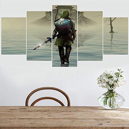 MXYXD Stampe e Quadri su Tela 5 Pezzi,Gioco The Legend of Zelda: Ocarina of Time Creativo Modulare Tela Poster Soggiorno Decorazioni per La Casa Arte della Parete Dimensione D Nessuna Cornice