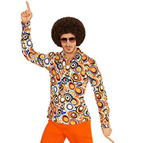 Amakando Schlagermove Herrenhemd - L/XL (52/54) - Hippie Outfit 60er Jahre Kleidung Schlager Kostüm Shirt Peace Verkleidung Klamotten 70er Jahre Hemd Herren