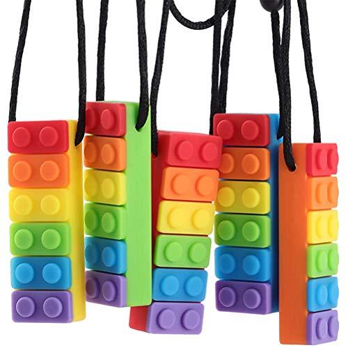 Haplws Collar para Masticar, 5 Piezas de Collar de dentición sensorial para Masticar, Conjunto de Collar para Masticar, Cadena de Masticar, Collar de Silicona para Masticar, dentición