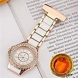 FANLLOOD Reloj de Bolsillo Nuevo Reloj con Clip de Enfermera de Cristal de Oro Rosa de Moda para Mujer, Broche analógico de Acero Elegante, Reloj de Bolsillo Cuarzo para Mujer, Juego de