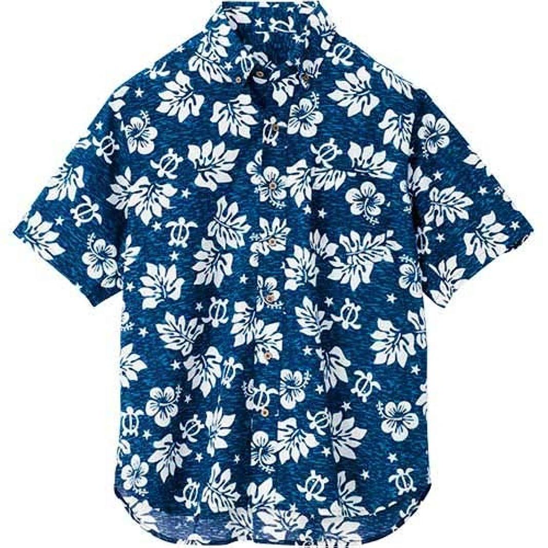 洗剤真っ逆さま気絶させる[アイトス] ボタンダウンアロハシャツ(ハワイの夜)(男女兼用) 008/ネイビー AZ-56109 M