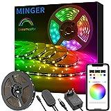 DreamCouleur Ruban à LED avec APP, Minger 5M Musique Bande Led Etanche 5050 RGB...