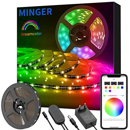 Dreamcolor Tira Led RGB 5M, Minger Tira Led 5050 SMD Digital - IC Incorporada con APP, Led Iluminación Multicolor Impermeable, Cinta Tira Led Flexible para Navidad, Habitación, Jardín, Bar, Fiesta