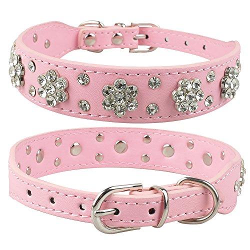LHKMGH Remaches De Rhinestone Cuello De Perro De Cuero, Collares De Perrito De Perrito De Cristal para Pequeños Perros Medianos Rosa,32~38cm