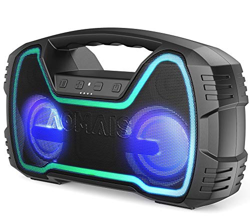 Portable Bluetooth Speaker, AOMAIS 40 Hrs Playtime Outdoor Waterproof Speakers with Lights, 25W Super Stereo Sound and Deep Bass, 100Ft Wireless Bluetooth Range, Built-in Mic, Indoor/Beach Party