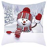 Lunule Navidad Funda de Almohada de Sofá Navideño Funda de Cojín 3D Snowman Funda de Almohada Decorativa Feliz Navidad Throw Pillow Case Funda de Almohada para Cojín 45x45 cm