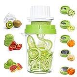 GoZheec Spiralizzatore di Verdure 8 in 1 Taglia Verdure a Spaghetti Affettatore a Spirale per Cetriolo, Zucchine, Carota, Patate, Cipolla, Formaggio