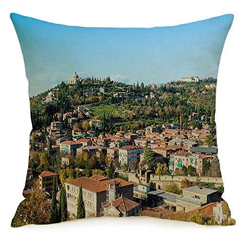 Throw Pillow Covers Case for Couch Sofa Cozy Houses View Verona City for Travel Tourism Italy Old Panoramic Exterior Sky Landmarks Architecture Pillowcase Home Decoration Soft Linen 20 x 20 Inch
