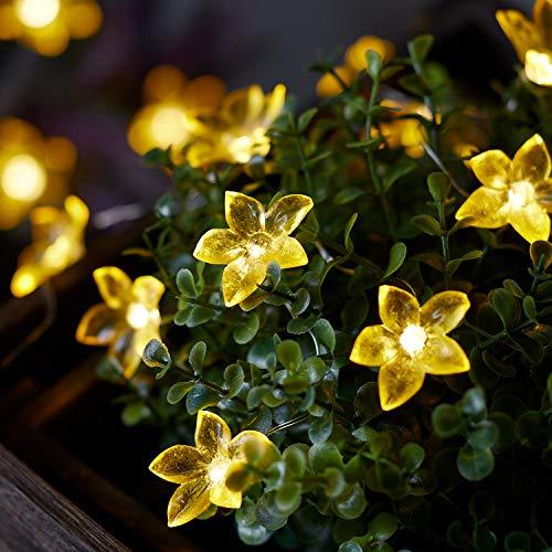 Lights4fun 20er Micro LED Lichterkette gelbe Blumen batteriebetrieben Timer Innen- und Außenbeleuchtung