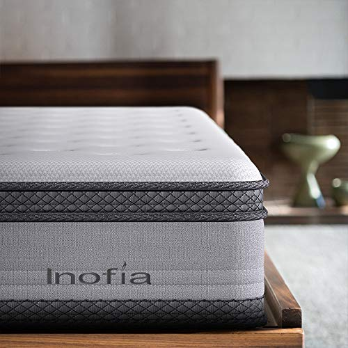 Inofia Double Mattress, 4ft6 Memory Foam and Spring Hybrid Mattress,7-zone Barrel-type Less Friction Spring, Carbon Cover, OEKO-TEX Certified,25cm High