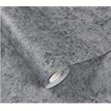 New Cement Gray linen pattern waterproof wallpaper self-adhesive solid color dormitory bedroom wall stickers cabinets furniture,Cement light gray,3mx60cm