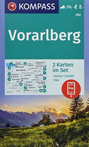 KOMPASS Wanderkarte Vorarlberg: 2 Wanderkarten 1:50000 im Set inklusive Karte zur offline Verwendung in der KOMPASS-App. Fahrradfahren. Skitouren. Langlaufen. (KOMPASS-Wanderkarten, Band 292)