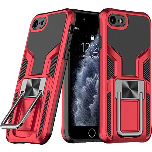 LaimTop iPhone SE 2020 Funda, Doble Capa con Soporte de Metal, Resistente a Golpes, Grado Militar Protección contra Caídas Carcasa para iPhone 8 / iPhone 7 / iPhone SE 2020 Rojo